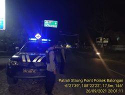 Polsek Balongan Giat Patroli Rutin Strong Point Wiralodra Antisipasi Tindak Kejahatan dan Edukasi Prokes Terhadap Masyarakat