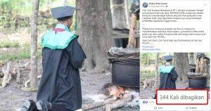 Viral! Foto Wisudawan Berlutut di Depan Penyulingan Cap Tikus, Netizen: Dia Bangga Bisa Kuliah Karena Cap Tikus